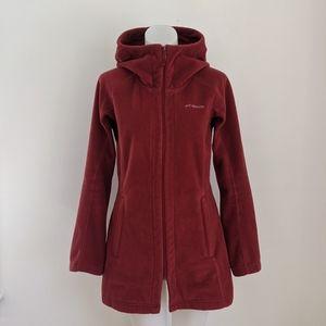 COLUMBIA Long Fleece Zip Jacket, Red, S